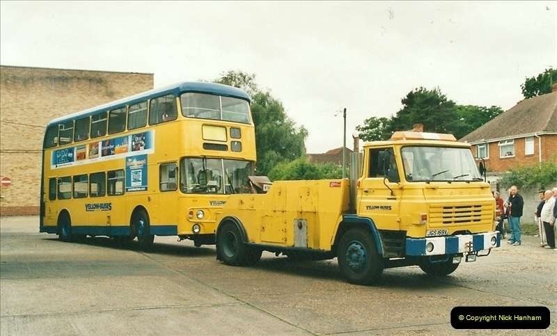2002-06-30. 100 Years of Yellow Buses Open Day, Mallard Road Depot. Bournemouth, Dorset.    (96)111