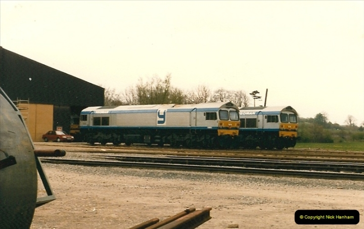 1986-05-18 New class 59s @ Foster Yeomans depot in Somerset.  (4)0174
