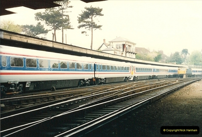 1988-04-12 Record breaking run by a Wessex Electric Waterloo to Weymouth. 1 Hour 59 Minutes 24 Seconds (1)0585