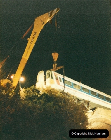 1988 -12-11 Vandals place a cement mixer on the down line at Parkstone station, Poole, Dorset.  (11)0728