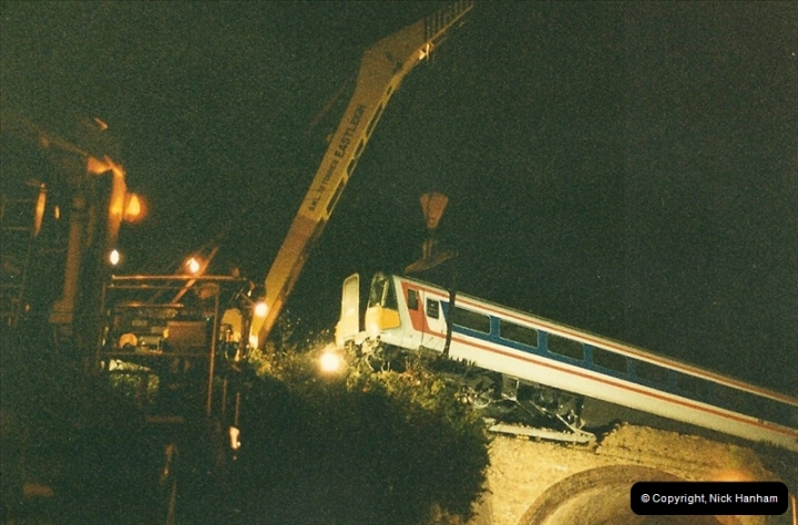 1988 -12-11 Vandals place a cement mixer on the down line at Parkstone station, Poole, Dorset.  (12)0729